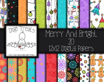 Merry And Bright Christmas Digital Paper Pack, Scrapbook Paper, Digital Crafting, Card Making, Christmas Theme, Instant Download.