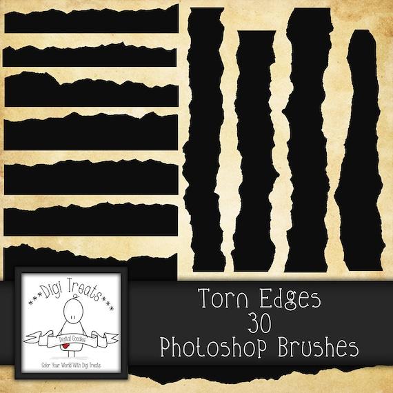 20% OFF Torn Edges Photoshop Brush Set 30 Brushes High