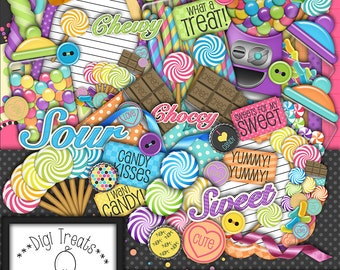 Sweetie Pie Digital Scrapbook Kit.  Candy Themed Scrapbook Kit, Digital Papers, Clip Art, Words and More. **INSTANT DOWNLOAD***