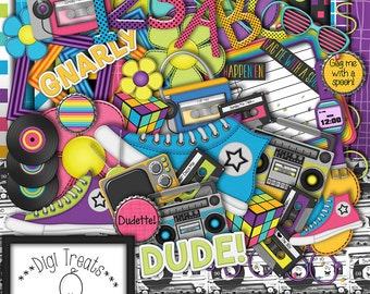 I Love The 80s Digital Scrapbook Kit.  1980s Themed Scrapbook Kit, Digital Papers, Clip Art, Word Tags and More. **INSTANT DOWNLOAD***