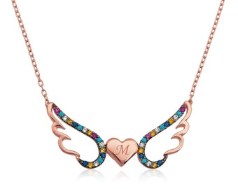 Silver Winged Heart Necklace - IJ1-2035