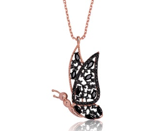 Silver Flying Butterfly Necklace - IJ1-1651