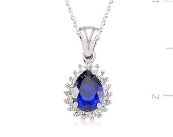 Sapphire Swarovski Stone Drop Necklace - IJ1-1143