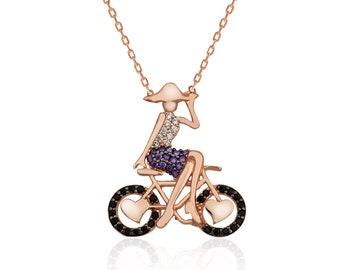Silver Bike Girl Necklace - IJ1-1847