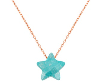 Silver Green Star Necklace - IJ1-1928