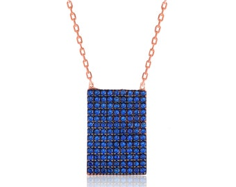 Rectangular Sterling Silver Necklace Navy - IJ1-1704