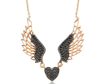 Silver Winged Heart Necklace - IJ1-1385