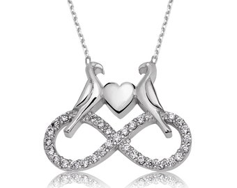 Endless love Doves Silver Necklace - IJ1-1523