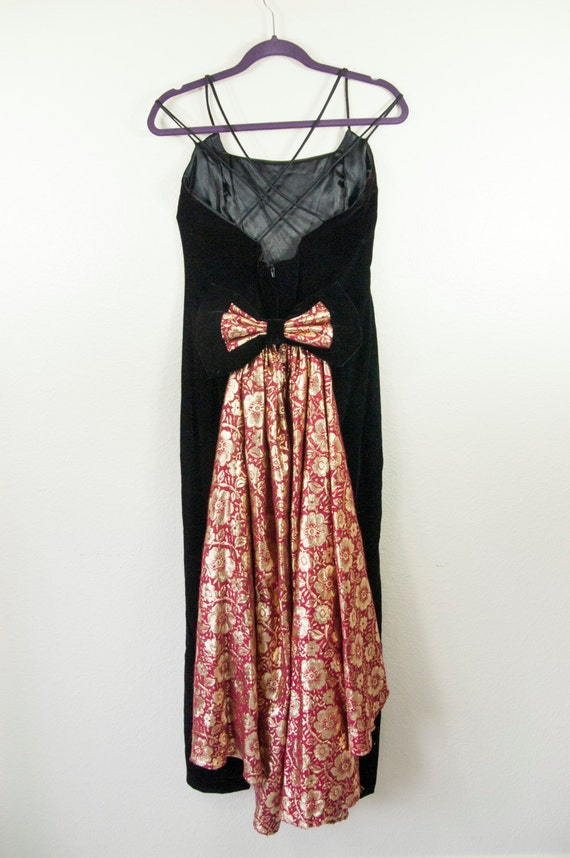 Vintage Jessica McClintock 1980s Velvet Prom Dress - image 5