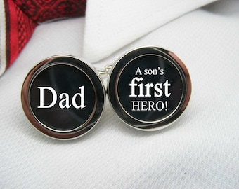 Dad a son's first hero Cufflinks - Gift for Men - Mens Jewellery Accessories - Men Cufflinks - Jewelry for Men - Dad Mens Accessories