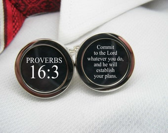 Proverbs 16 3 Cufflinks - Commit to the Lord whatever you do, and he will establish your plans.   BIB-VER0048