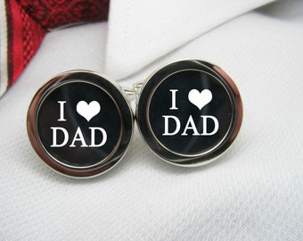 I heart Dad Cufflinks - I love Dad cuff links are a perfect gift for your father as a keepsake for a special occasion or for Father's Day.