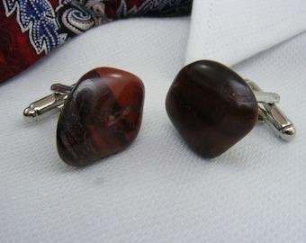 Gemstone Cufflinks - Tigereye Red - Mens Accessories -  Jewellery - For Him - Polished Stone - Cuff Links - Unique Gift Ideas - Weddings