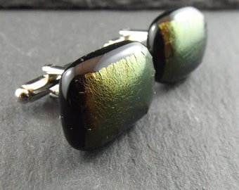Green and Yellow Metallic Fused Glass Cufflinks - Mens Accessories -  Jewellery - For Him - Cuff Links - Unique Gift Ideas - Weddings