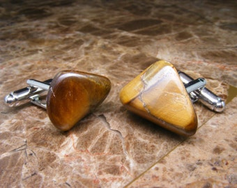 Gemstone Cufflinks - Tigereye Yellow - Mens Accessories -  Jewellery - For Him - Polished Stone - Cuff Links - Unique Gift Ideas - Weddings