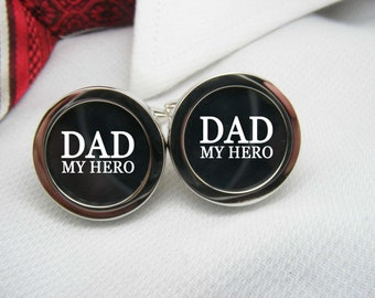 Dad My Hero Cufflinks - These cuff links are a perfect gift for your father as a keepsake for a special occasion or for Father's Day.