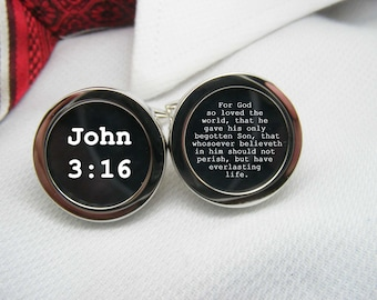 John 3 16 Cufflinks - For God  so loved the  world, that he  gave his only  begotten Son, that whosoever believeth in him should BIB-VER0047