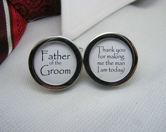 Father of the Groom Cufflinks - Thank you for making me the man I am today cuff links are the ideal wedding gift for your dad. WED-GRM0003