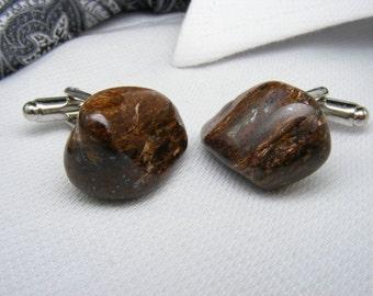 Tigereye Yellow - Gemstone Cufflinks - Mens Accessories -  Jewellery - For Him - Polished Stone - Cuff Links - Unique Gift Ideas - Weddings