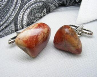 Jasper Rainbow - Gemstone Cufflinks - Mens Accessories -  Jewellery - For Him - Polished Stone - Cuff Links - Unique Gift Ideas - Weddings