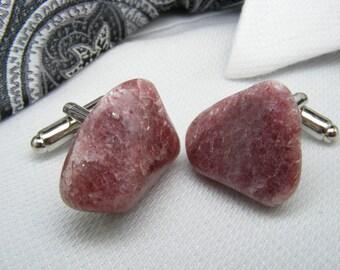Adventurine Red - Raw Gemstone Cufflinks - Mens Accessories - Jewelry - Guy Gift - Polished Stone - Wedding Keepsake - Father of the Bride