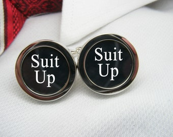 Suit Up Cufflinks - Suitup cuff links - Geekery - Men Accessories - Groomsmen Gift - Weddings Jewellery - Groom Cuff Links - Best Man