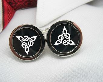 Triangle Celtic Knot Cufflinks - Celtic Cuff Links - Jewelry for Men - Accessories Men Cufflinks Custom Cufflinks Weddings Mens Accessories