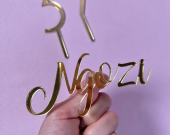 FRONT Acrylic Cake  Charms, Acrylic Cake Topper, Personalized Laser Cut Acrylic, Modern Cake Topper, Name Cake Topper
