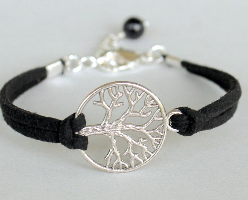 07f3d4108ba3 Plata pulsera árbol de la vida - cordón de cuero de gamuza sintética negro  karma amistad pulsera árbol de la vida - hecho en Canadá