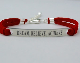 Dream Believe Achieve, Stainless Steel Bracelet, Faux Suede Leather Cord, Graduation Gift, Gift For Her, AdjustableW/ Ext. Chain, ST755