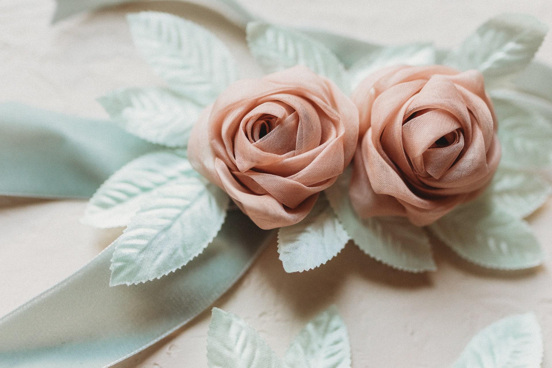 2233c9ffce0e Velvet Rosebud Sash Dusty Pink Hand-sewn Belt Dusty Rose | Etsy