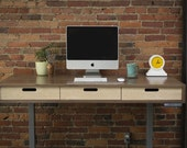 The Evolve - Modern Adjustable Standing Desk - Walnut with Electric Adjustable Standing Desk - Featuring the quot Jarvis quot Electric Base