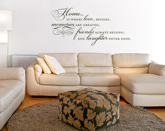 Home Is Where Love Resides, Memories Are Created Vinyl Quote - Family Wall Decal