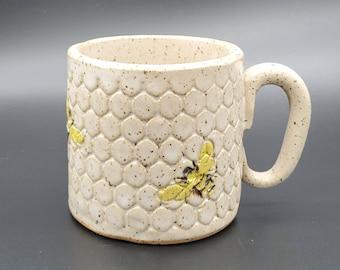 Bee on Honeycomb White Mug