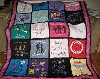 Preserve Your Special Memories through a Custom Made T-Shirt Quilt. Rock Concert Tees, College tees, Memorialize your Favorites In a Quilt.