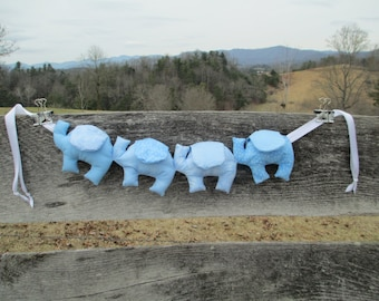 Baby Blue Elephants for a baby boy, 24 in long + ties.  A terrific baby gift or shower gift. One of a kind!
