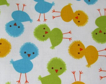 Lightweight Summer Blanket, Stroller Blanket, Large baby or toddler blanket, 100 percent premium cotton,approx 36 X 42 inches. CUTE CHICKS!