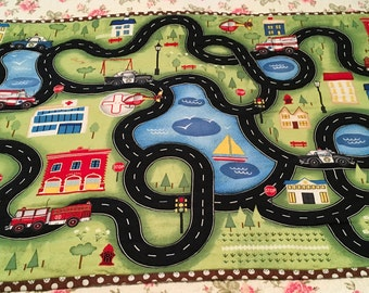 Car and Truck Road Playmat for kids.  24 X 41 inches