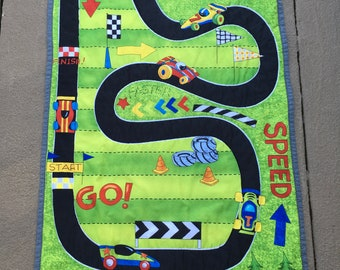 Race Track Play Quilt. 23 X 42