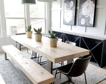 Made To Order Modern Rustic Farmhouse Dining Table And Bench Set Gray And  Natural Wood