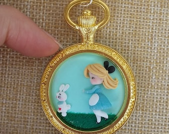 Alice in wonderland necklace polymer clay creations