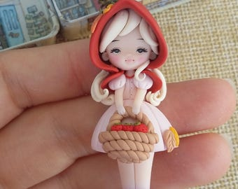 Preorder.Little red riding hood necklace, fairytale, polymer clay
