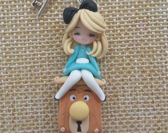 To order: Alice in wonderland and white rabbit key necklace polymer clay creations