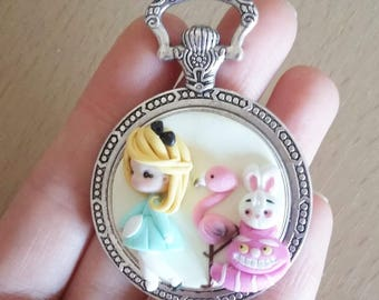 To order: Alice in wonderland necklace polymer clay creations