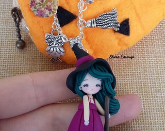 Witch and pumpkin pouch.  Halloween polymer clay