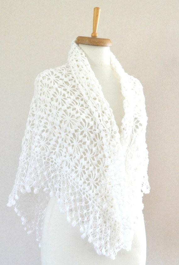 Blanco nupcial mantón orgánico algodón chal blanco rebozo   Etsy