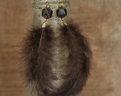 SALE- Small Spotted Brown Bohemian Feather Earrings, Brass Earrings, Feather Earrings, Boho Jewelry