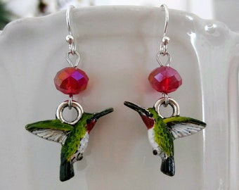 Hummingbird Earrings Hand painted Ruby Throat Hummingbirds Spirit Animal Totem Jewelry Mother's Day Love Luck