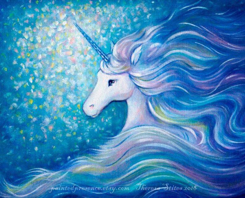 b243c9b3baaf5 Unicorn Art Print, Unicorn Nursery Art, Unicorn New Baby, Magical Nursery,  Girls Wall Decor, Unicorn Kids Art, realistic fantasy, frameable