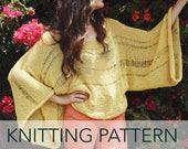 Knitting Pattern // Bat Wing Bell Sleeve Kimono Oversized Summer Sweater Drop Stitch // Lemon Drop Sweater PATTERN